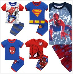 Wholesale T Shirts Boys Spiderman - HOT 5Design Boys spiderman Pajamas suits children Avengers Captain America Iron Man Short sleeve T-shirt+ shorts 2pcs suit Holiday giftJC139