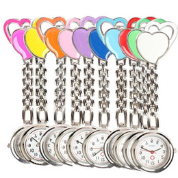Wholesale Hearts Table - 10% Fasion Double Sweet Heart Chest Pocket Watch Nurse Table Quartz Alloy with Clip 10 colors Clock Smile
