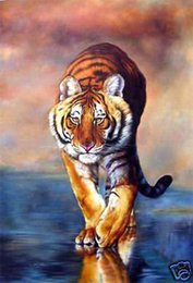 Wholesale Tiger Abstract Canvas - TIGER,genuine Pure Handpainted Animal Art oil Painting On High Quality Thick Canvas in Multi Size tiann