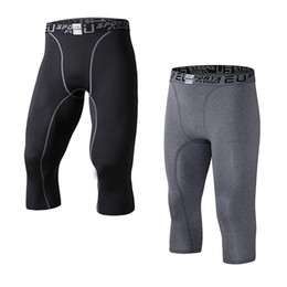 Wholesale Elastic Capris - EU Men's Compression Capri Base Layer Tights 3 4 Pants capri pants