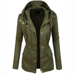 Wholesale Womens Fashion Military Jacket - Womens Military Anorak Jacket With Hood Lightweight Women Jacket 2016 Fashion Casual Ladies Jackets Zipper Up Female Coat