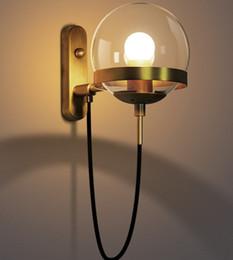 Wholesale Glass Wall Light Shades - Glass Wall Lamp Modern light Metal Wall sconce Iron modo wall lighting glass shade bronze black color mode LLFA