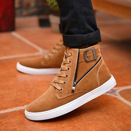 Wholesale Hot Korean Boots - Hot 2017 Men Flock Leather Casual Shoes Korean Fashion Winter Autumn Men Ankle Boots Men High Top Shoes Man Buckle Zipper Boots