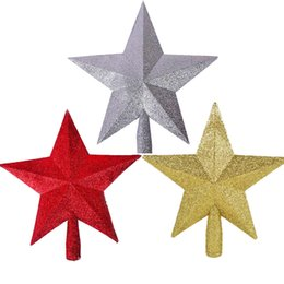 Wholesale Christmas Ornaments For Garden - Wholesale- Best Promotion Shiny Xmas Decorative Christmas Star Tree Topper for Table Top Ornament for gifts garden home