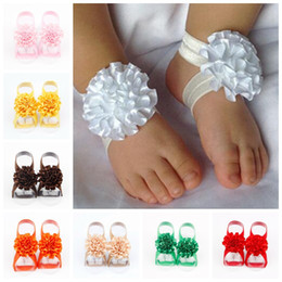 Wholesale Wholesalers For Childrens Shoes - Kids Barefoot Sandals Flower Shoes Cover Barefoot Flower Foot Ties for Girls Childrens Photography Props