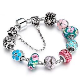 Wholesale Christmas Murano - European Style Authentic Tibetan Bracelet Silver Square Colorful Murano Crystal Beads Bracelet for Women Jewelry Christmas Gift AA90