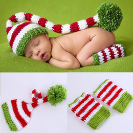 Wholesale Newborn Christmas Crochet Hat - Newborn Baby Photography Props Baby Girls Boys Wool Red and Green Christmas Hat with Legging Crochet Knit Costume Photography Prop BP022