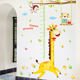 Wholesale Decorative Sticker Giraffe - Cartoon Decorative Stickers Kids Room Giraffe Wall Stickers Measuring Height Decorative Wallpapers High Quality Removable waterproof
