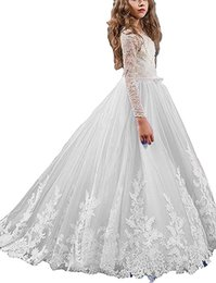 Wholesale Girls Petticoats Floor Length - 2017 Free shipping White Lace Applique Pageant Dresses Long Sleeves Flower Girls Dress Formal Party Ball Gowns Free Send petticoat 0222