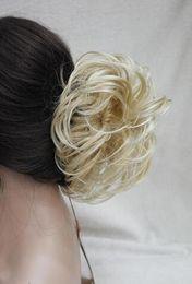"Wholesale Light Brown Hair Bun - 2017 New Fashion Light Blonde mixed Dome Wiglet Drawstring Ponytail 6"" Bun Cover Hair Pieces free shipping"