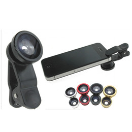 Wholesale Tablet Fisheye Lens - Fisheye Macro Wide Angle 3 in 1 Universal Clip Lens Mobile Phone Lens Cellphone Lens for iPhone Samsung iPad Tablet