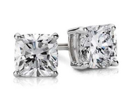 Wholesale Brilliant Diamond Earrings - 4Ct Cushion Cut 18K White Gold Brilliant Screw Back Stud Earrings