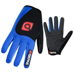 Wholesale Red Climbing Gloves - Qepae Washable Cycling Gloves Men Sports Full Finger Anti Slip Bike Gloves Shockproof Breathable Warm Black Climbing Spring Blue