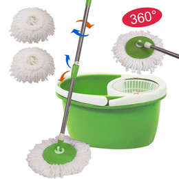Wholesale Microfiber Floor Mops - 360° Rotating Head Easy Magic Floor Mop Bucket 2 Head Microfiber Spinning Green