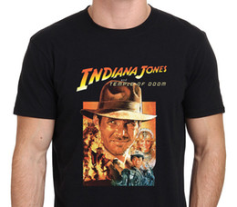 Wholesale Movie Crew - Tee Shirts Hipster Crew Neck Graphic Indiana Jones And The Temple Of Doom Vintage Movie Poster Short Sleeve T Shirts For Men