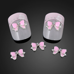 Wholesale Nail Bow Butterfly - Wholesale-10PCS Hot 3D Alloy Nail Rhinestone 3D nails art Pink Bow Tie Butterfly Nail Art Decoration Stickers DIY ~NA872
