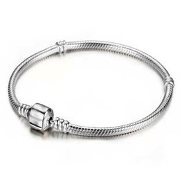 Wholesale fishing numbers - Wholesale 925 Sterling Silver Bracelets 3mm Snake Chain Fit Pandora Charm Bead Bangle Bracelet Jewelry Gift For Men Women