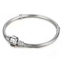 Wholesale Fish Number - Wholesale 925 Sterling Silver Bracelets 3mm Snake Chain Fit Pandora Charm Bead Bangle Bracelet Jewelry Gift For Men Women