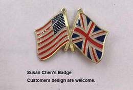 Wholesale Uk Buttons - U.S.A UK Jack Friendship Flag Badge Flag Pin 10pcs a lot Free shipping 0003