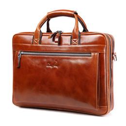 Wholesale Top Mens Business Briefcases - Wholesale- DongHong vintage 100% genuine leather men business bag Top quality Mens briefcase handbags shoulder bags messenger laptop