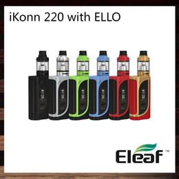 Wholesale interface boxes - Eleaf iKonn 220 with ELLO Kit 2ml   4ml ELLO Atomizer 220W iKonn 220 Box Mod Preheat Function Switchable Interfaces 100% Original