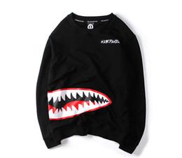 Японская одежда хараюку онлайн-Мужчины толстовки высокое качество японский мужчина головная одежда акула рот Harajuku мужчины акула печать с длинными рукавами одежда большой размер 5XL