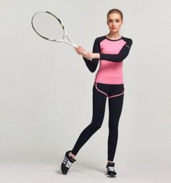 Wholesale Gym Clothing For Women - Fitness Women Sports Long sleeves Yoga Set For Gym Running Sportwear Suit Comfortable Elasticity Lady Fitness Yoga Clothing Sports