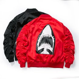 Wholesale Clothing Dropshipping - Dropshipping 2017 New Spring Red Shark Bomber Jacket Men Streetwear Brand-clothing