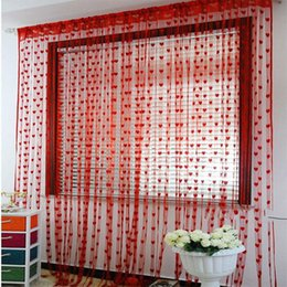 Wholesale Roller Blind Door - Wholesale- Size 200cm x 100cm Curtain Cute Heart Line Tassel String Door Window Room Curtain Valance Venetian blinds and Curtain free ship