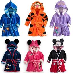 Wholesale Red Black Bathing Suits - spring autumn cartoon boys sleepwear girls robe Baby bathrobe polar fleece fabric bath towel robe high quality children Bathing Suits