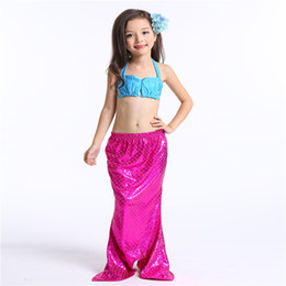 Wholesale Kids Bikini Outfits - 2017 Factory Price New Arrival Kids Girls Mermaid Swimwear Outfits Sequins Princess Swimsuits for 2-7T Kids Wholesale
