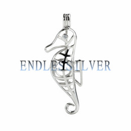 Wholesale sterling pendant mounting - Wishing Pearl Cage Pendant 925 Sterling Silver Jewellery Sea Horse Pendant Mounting for Pearl Party Gift