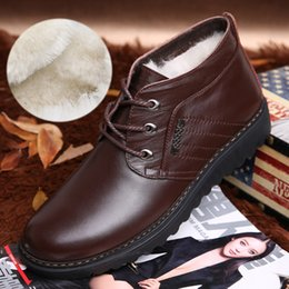 Chaussures marron velours lacets en Ligne-Bottes Hommes En Peluche Velours D'hiver Chaud Bottes De Neige De Mode Populaires Chaussures À Lacets Plats En Coton Noir Brun Homme Cheville Bottes 2.5A