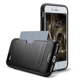 Carte de crédit couvre le plastique en Ligne-Housse hybride pour Apple iPhone 7 7 Plus Titulaire de la carte de crédit couverture de portefeuille double couche souple TPU avec coque en plastique DHL livraison gratuite
