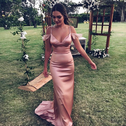 Wholesale Dusty Rose Dresses - Dusty Rose Mermaid Long Bridesmaid Dresses Spaghetti elegance Wedding Guest Dress Wedding Party Gowns cheap formal dress