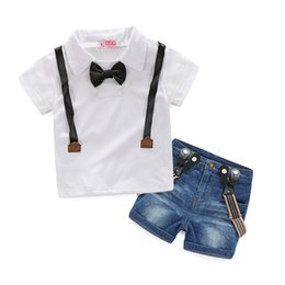 Wholesale T Shirt Straps Suits - Baby Boys Short-Sleeve T-shirt With Black Tie+Suspenders Denim Shorts 2Pcs Sets Summer Children Strap Jeans Suits