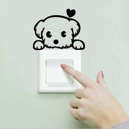 Wholesale Sweet Notebook - Sweet Heart Dog Switch Cup Wall Sticker Refrigerator Computer Laptop Notebook Stickers Decals Nursery New Year Gift