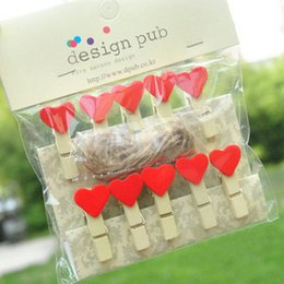 Wholesale Heart Paper Clips - 10pcs per set Fashion Mini Red Love Heart Wooden Cartoon Photo Clip Clamps Cute Paper Clips with a String DIY clips