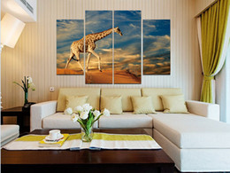 Wholesale Sand Paintings - Giraffe walking in the sand Frameless Paintings 4pcs(No Frame)Printd on Canvas Wall Art HD Print Painting Picture
