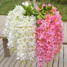 Wholesale Hot Pink Silk Flowers - High Quality Plants Wisteria Hang Silk Flowers Artificial Vine Flower For Home Wedding Decoration Wholesale-Hot Flores Vine Rattan DIY