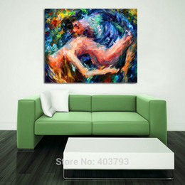 Arte de la pared desnuda online-Amantes desnudos Sexy arte de la pared pintado a mano pintura al óleo desnuda mujeres cuadros abstractos sobre lienzo arte regalos de navidad decoración para el hogar