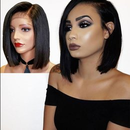 Wholesale Ladies Size 12 Shorts - Lace Front wigs Short Bob Wig full lace wig Brazilian Human Hair Pre Plucked 150%density Natural Hairline Silky Straight of beauty Qtfn