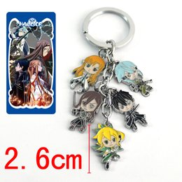 Wholesale Sword Girl Online - New 5Set Can pick Different Design Anime Cartoon Sword Art Online Fashion Style Keychains Metal Figures Pendants Key Chains