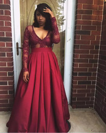Wholesale Transparent Back Lace Prom Dress - African Burgundy Sheer Long Sleeves Prom Dresses Transparent Deep V Neck Top Lace Evening Gowns Satin Skirt Party