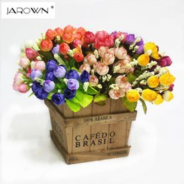 Wholesale Silk Mini Flower Heads - Colorful Silk Flowers artificial flower 15 heads Mini Rose Home Decor for wedding small roses bouquet decoration