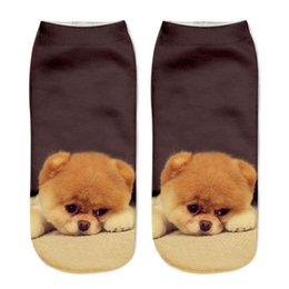 Wholesale Racing Dog - High Quality 3D Printed Cartoon Anime Dog Animals Short Socks Adult Men's Women's Unisex Stocking Soft Ankle Socks Casual Socks (1 pair)