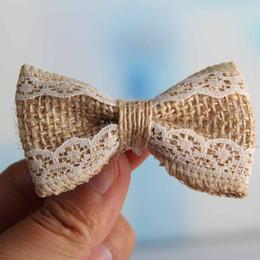 Wholesale Lace Craft Bows - Free Shipping Natural Jute Burlap Hessian Ribbon Bowknot Vintage Wedding Craft Burlap Scrapbooking lace Hair Bow 200pcs