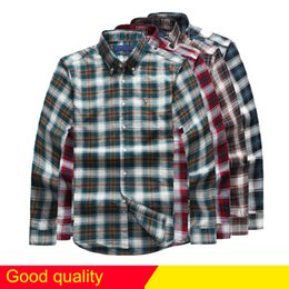 Wholesale Organic Cotton Business Shirts - 2017 free Shipping plaid lapel men's long sleeved Cotton Shirt Men Navy Blue POLO Shirts Oxford Business Casual Shirt Small Horse Clothes