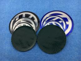 Wholesale Car Wheels Decals - 4PCS Black & Blue 56.5mm 60mm 65mm 70mm 75mm 80mm 90mm 100mm 120mm VW Car Wheel Center Hub Cap Badge Emblem Decal wheel Sticker