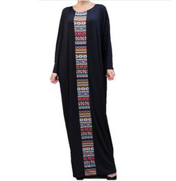 Wholesale Aztec Xl - Black Caftan Maxi Dresses Women Plus Size Kaftan Abaya Oversized Dress Aztec 2017 Loose Waist Long Robe Bat Sleeve Dashiki Casual Vestidos